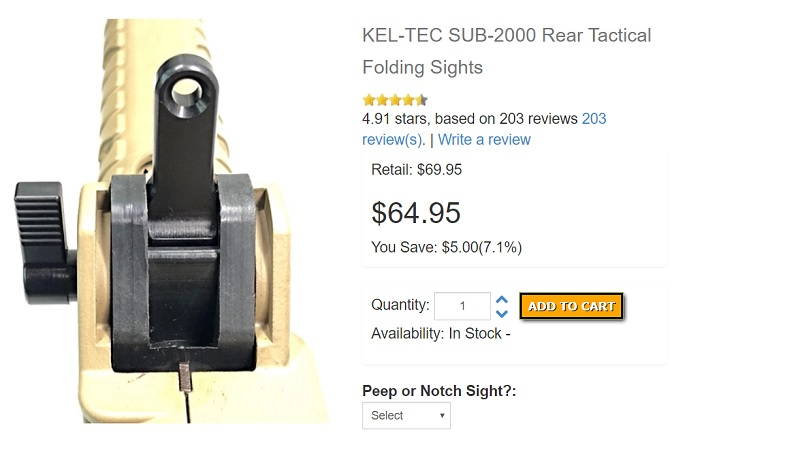 Kel Tec Sub 2000 Rear Sights