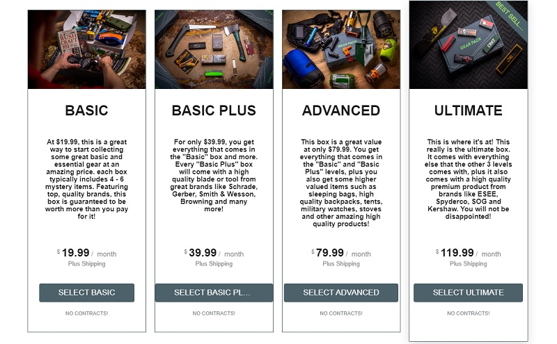Gearpack Subscription Levels